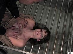 This lusty and gorgeous babe bobbi Starr is being painsulted so harsh! She gets tied and and suspended. Then he makes her sit on that huge dildo and ride it!