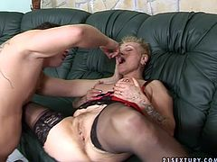 Perverse young dude gives bad times to messy old prostitute in seductive lingerie and stockings. He tickles her snatch with a dildo before he starts pounding it in close up sex video by 21 Sextury.