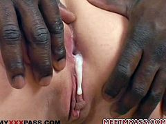Lewd blonde milf Masha Stern shows her cock-sucking skills to a bulky black stud. Then they have rough anal sex in many positions and Masha moans insanely with pleasure.