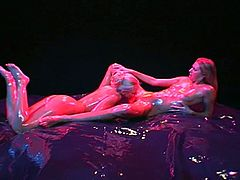 Couple of tremendous beautiful lesbians take bath in oil and eat each other's wet pussies,Check out how these lesbo bombshells lick each other's oily boobies and later finger their tight pussies.Enjoy!