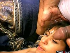 Hot blooded Indian amateur gives an upside down blowjob to stiff penis while getting her cunt pounded missionary style before she kneels down to give double blowjob in sizzling hot MMF sex video by Pornstar.