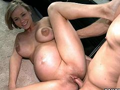 A couple of awesome dudes pick up this pregnant slut and fuck her in the car, bitch is gorgeous and has juicy titties. Check it out!