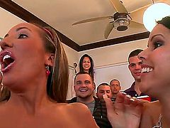 Four college babes Alexis Fawx, Diamond Kitty and their friends are at a wild college party. Lots of different sex games make them all horny pretty fast.