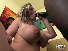 Mature nympho Sara Jay is famous for her massive tits and cock fucking skills in this video she proves once more that she's the queen of huge black dongs.