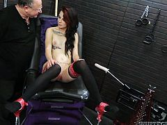 Red haired brunette is ready to test new sex machine in action
