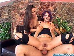 Two dark-haired milfs Carmella Bing and Nadia Nyce suck and rub some dude's schlong. Then they get their cunts and butts drilled hard and moan loudly with pleasure.