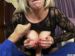 Slutty milf with huge tits loves having her pussy drilled in hardcore