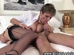Stockinged mature brit Gill Ellis Young gets fucked after bj