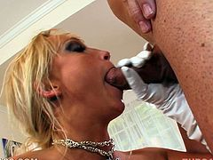 Nicki Hunter deepthroats and eats the jizz which she gets
