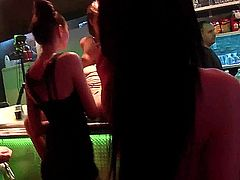 Awesome party sluts gets mouths and pussies screwed in club in sex orgy