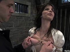 This lusty and gorgeous babe Bobbi Starr gets tortured so fucking hard! She gets tied up and then JR Langdon fucks her wet cave!