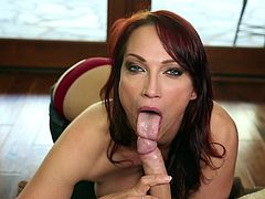 Superb milf looks amazing on her knees while sucking cock with pleasure