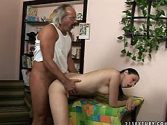 Kinky pale brunette with braids gonna be fucked tough tonight. She's seduced spoiled fat old man. Long legged cutie spreads legs wide to be fucked missionary right on the table. Check out 21 Sextury xxx clip and enjoy.