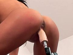 Provocative brunette Lee Lexxus likes it hotter. She tests new sex machine with her pussy and later sucks it. Watch frisky brunette pornstar from 21 Sextury site.