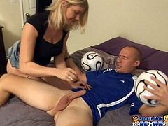 He dribbles in her sweet mouth first and then pushes his huge cock in her tight pussy to score a goal. You will see several goals in several poses.
