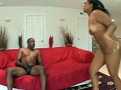 Kinky black chick is the owner of enormous appetizing black ass and sweet big tits. Wondrous whore is fond of riding a stiff BBC and never minds to be fucked both doggy and missionary for orgasm.