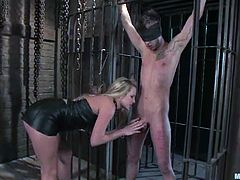 Amazing Harmony ties up Dean Strong and then tortures his dick. After that she also drills his ass with a strap-on.