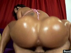 Jaw dropping oiled ass swallows dick in doggy style and later in cowgirl one. This booty babe knows for sure how to satisfy all your dirty desires.