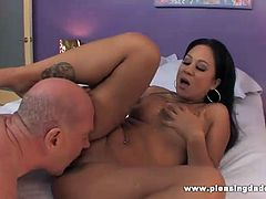 Nasty, young Asian slut Kayme Kai wanted some mature cock and boy did she get it with this bald old man as they trade some head and she gets banged in this free video.