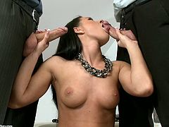 Sexited brunette harlot is sucking two hard dongs in dirty MMF threesome fuck action