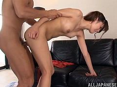 Sexy Japanese girl takes her dress off and then gets fingered. Later on she gets fucked deep and nice on a sofa.