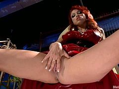 The hot redhead babe Nicki Hunter is going to masturbate her pierced shaved pussy in this hot solo video.