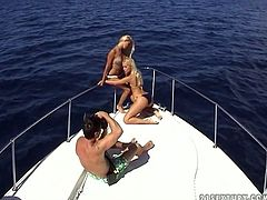 Pretty and serely seductive blondies presented in 21 Sextury backstage sex clip will surely be the cause of hard boner. Wondrous cuties are rather flexible. Amazing beauties with natural tits rub each other's wet pussies right on the yacht and work hard on cam to please each other and you!