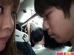 Sexy asian teenie got caught in the bus and receives soem pussy pumping. She can't escape from his cock and can only moan on his meat!