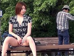 Check out this hot asian teenie spreading her sexy legs in public. She shows off her tight pussy and wants to rub herself for a deep orgasm!