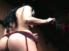 Naughty and so slutty brunette girlie Kimberly Gates stays in black stockings and black high heeled shoes having cool solo masturbation. Watch her rubbing clit talking dirty.