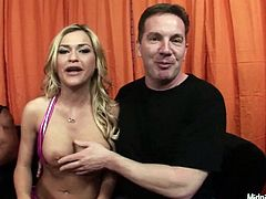 Two horny dudes undress appetizing blonde and please her gorgeous body in front of the cam. Later they fucks her face one by one.
