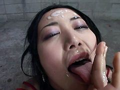 Slutty asian babe likes sucking some cocks and let them spalsh her face with cream