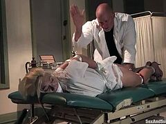 This is a hot BDSM session with a desirable blond babe Samantha Sin, who acts like a filthy nurse. So he tapes up her body and then penetrates her with a gag in her mouth!