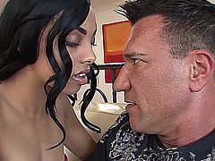 Taylor Luxx wants help with her Spanish lesson and goes to a neighbor for help. She quickly digresses by grabbing his crotch to find his cock big and hard. He responds by feeling her pantiless pussy, takes off his pants, so she can have at his fully erect, banana-curved cock, which she quickly mouths, then sits on his dong, letting him squeeze her bubble butt, while she rides his rod.  Several positions later she again sucks his rigid tool until he takes it from her mouth and squeezes its creamy goodness into her mouth to swallow.