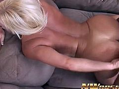 Alexis Golden is a hot mom with huge natural tits. She tries a big black cock in her pink pussy and screams when he fucks her from behind.