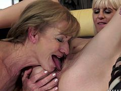 Passionate scene of mature mommy and sexy blonde MILF pleasing one another in a steamy porn scene. Blonde sexpot eats wet hairy pussy actively. Then she is facesitting her lover.