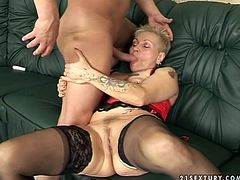 Young sex hungry dude hooks up with old shabby looking mom in raunchy lingerie and stockings. She gives him a head before she tops him for a ride in reverse cowgirl style.