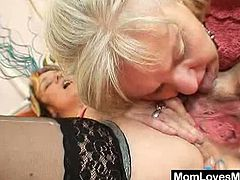 Check out these elder sluts having some wild lesbian fun. They switch turns to suck on their horny pussies and share a big double dildo together!