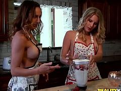 Hot like hell busty cooks desire to tease each other's wet pussies for delight