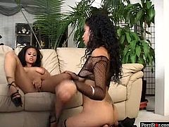 Amazingly beautiful ebony girls Olivia Winters and Mika Brown screwed in FFM threesome