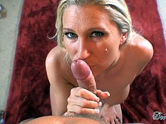 Amazing blonde milf likes shaking her big tits while sucking cock like a pro