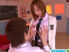 Kinky Yuu Namiki hot teen Japanese cock sucker teen that loves sucking fat cocks and gets her hairy wet pussy fingered and licked before getting fucked on chair and school desk