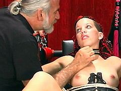 Older guy punishes young hottie for being bad during top BDSM scene