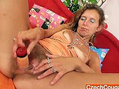 Check out this horny czech mature spreading her legs. She shows off her hairy snatch and uses her favorite toy till a deep orgasm!