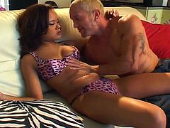 Nasty asian slut shows she has what it takes to satisfy a man. She eats his cock and then gets her pussy filled with the man's thick dong.