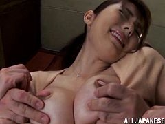 Yui Hataro is going to be forced by this old dude to have sex in the kitchen. she was just cooking when he came, fucked her from behind and made her suck his dick.