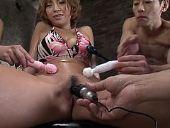 Well satcked Japanese girl Sumire Matsu enjoys a lot of vibro toys