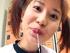 Cum-eating Japanese babe love sperm so much!
