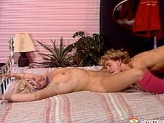Filthy blond teen gets her unkept bushy pussy nailed hard in doggy and later in sideways pose from behind before she lies on her back to welcome a hard drill missionary.