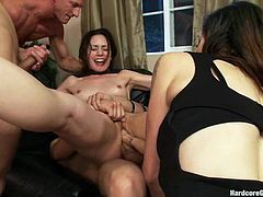 This brunette chick has a little party with her neighbors to get acquainted with them. In the result she gets acquainted too close. She gets fucked and fingered by them.